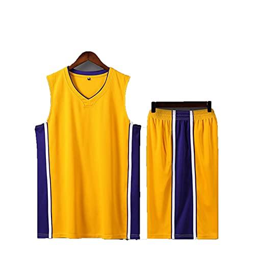 SJWJ Conjunto de Camiseta de Baloncesto Camiseta de Baloncesto para niños y niñas, Conjunto de Chaleco Transpirable + Pantalones Cortos para niños,Amarillo,XS