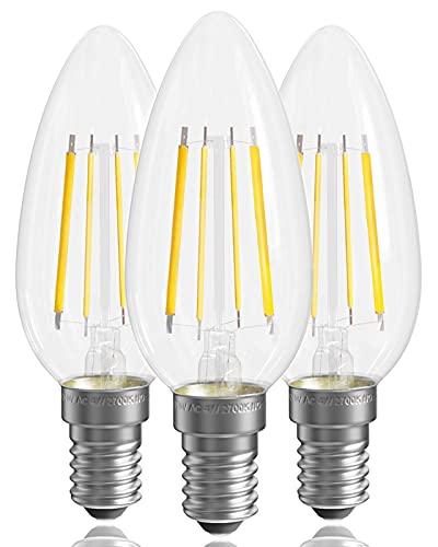 Bombilla LED para vela E14 de 4 W, 2700 K, blanco cálido, no regulable [Clase energética A +], Bombilla LED para vela de tornillo pequeño, Bombillas LED para vela E14, 400 lm, paquete de 3 bombillas