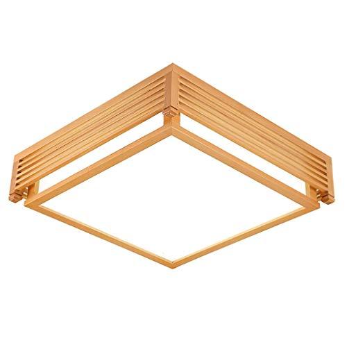 Solid Wood Square LED plafondlamp, acryl lampenkap, wit licht elektrodeloos dimmen, woonkamer slaapkamer plafondlamp (grootte: 45cm-B)