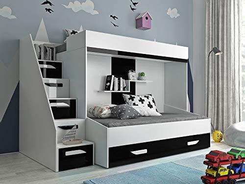 Etagenbett für Kinder PARTY 16 Stockbett mit Treppe und Bettkasten KRYSPOL (Weiß + Schwarzer Glanz)