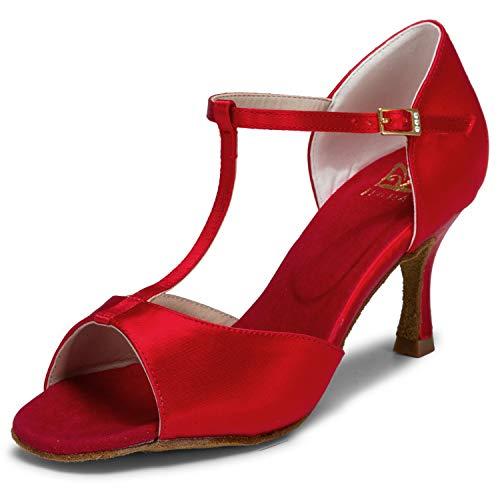 JIAJIA 20511 Latina Sandalias De Mujer 2.7 ''Talón Acampanado Super Satinado Zapatos de Baile Color Rojo,Tamaño 36 EU