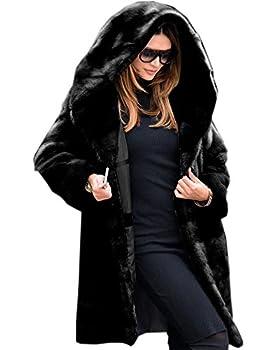 Roiii Womens Winter Luxury Outerwear Long Sleeve Faux Mink Faux Fur Plus Size Hooded Coat  XL 7028 Black