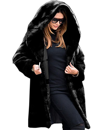 Aofur New Womens Thick Faux Fur Big Hooded Parka Long Overcat Peacoat Winter Coats Jackets (XX-Large, Black Faux Fur)
