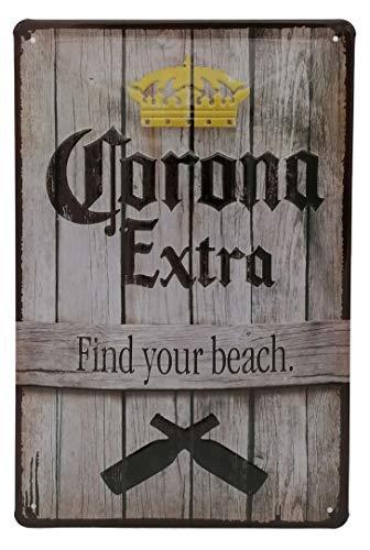 Corona Extra - Find Your Beach - Retro Werbeschild Bierschild - hochwertig geprägtes Blechschild, 30 x 20 cm Werbung - Tür- und Wanddekoration