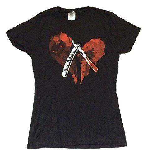 Sweeney Todd Bloody Razor Demon Barber Girls Juniors Black T Shirt...