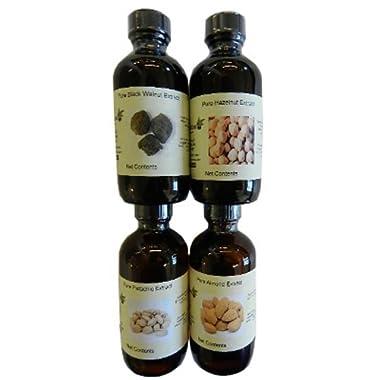 Set of 4 Nut Extracts (pistachio, almond, hazelnut, black walnut) 4 oz each