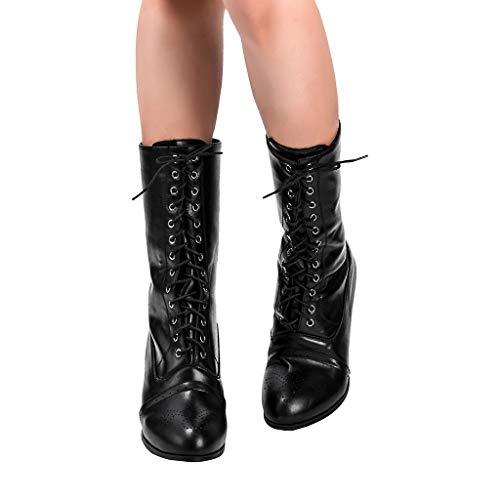 DNOQN Damen Cowboy-Stil Stiefeletten Chelsea Boots Spitze Spitze Spike Fersen Punk Med Heels...