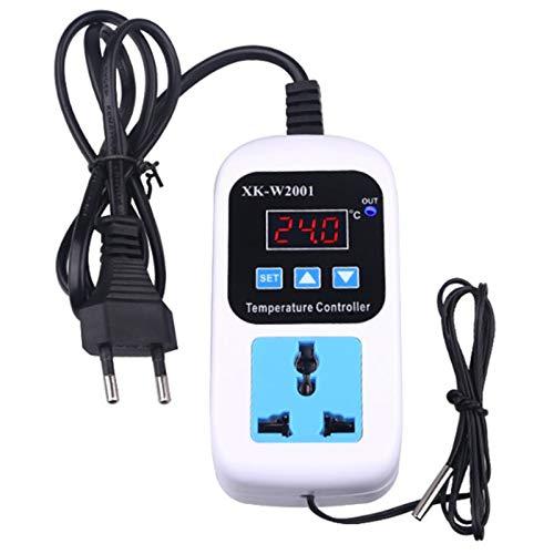 SODIAL Controlador Digital de Temperatura Termómetro Termostato Incubadora Control Control Del Microordenador Demora el Comienzo con la Sonda 110-220V 1500W Eu Enchufe