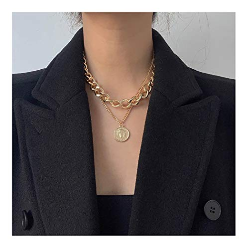 deladola Coin Layered Necklace Gold Statement Multilayer Choker Necklaces Jewelry for Women and Girls