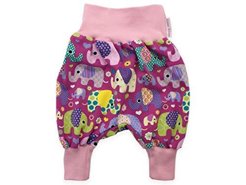Kleine Könige Pumphose Baby Mädchen Hose · Modell Elefantenparty lila rosa · Ökotex 100 Zertifiziert · Größen 74/80