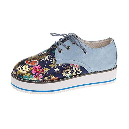 URIBAKY - Zapatillas con cordones en la parte delantera para mujer, con plataforma bordada, para running en carretera, al aire libre, correr, fitness, transpirables, zapatillas, Azul (azul), 42 EU