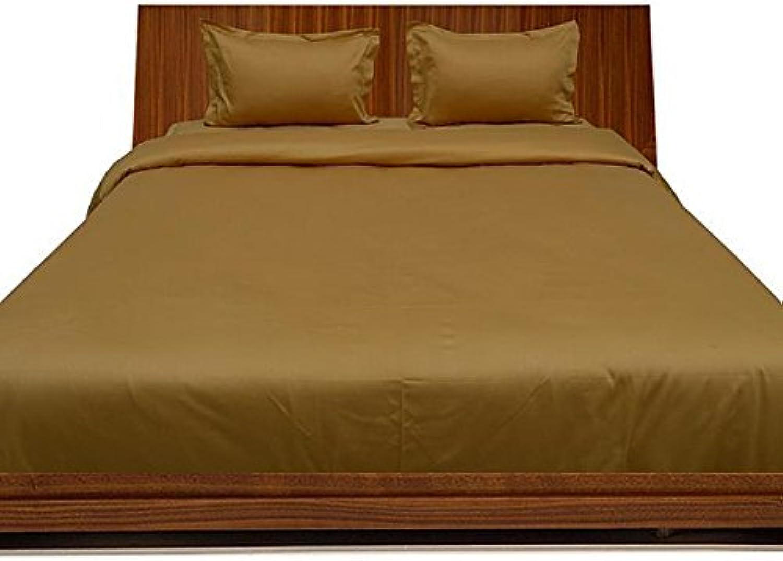 Scala Parure de lit en Coton égypcravaten 450Fils 53,3cm Poche Profonde de Feuille avec Une extrême Taie d'oreiller Euro King IKEA en Or 100% Coton 450tc