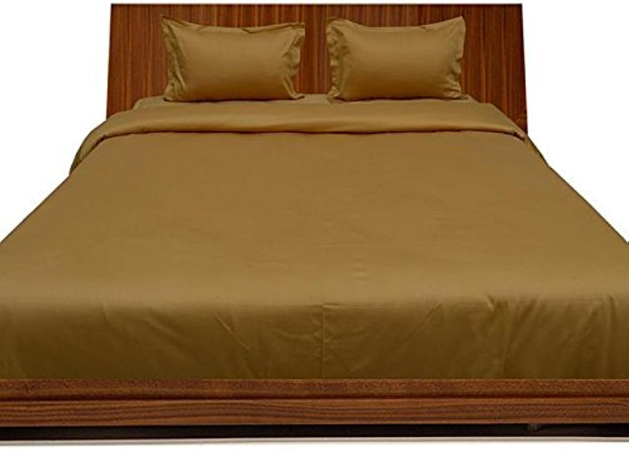 Linge de lit en coton égypcravaten 600 fils cm2, 46 cm, Ensemble de draps de gousset avec taie d'oreiller-Simple solide or 600TC 100%  coton