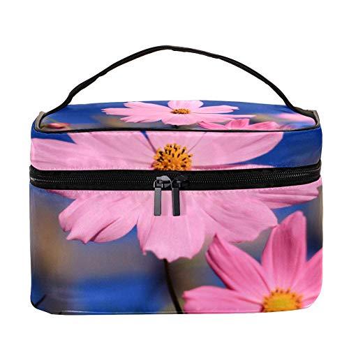 EZIOLY Rose Cosmos Flower Accessoires de voyage portable avec poche en maille pour maquillage et cosmétiques