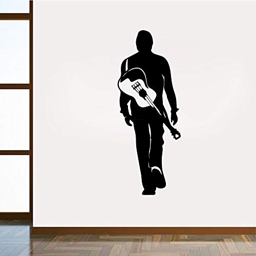YuanMinglu Cartoon Gitarrist Vinyl Aufkleber Kunst Aufkleber Kinder Wand Natürliche Dekorative Wanddekoration Wandbild 77x28 cm