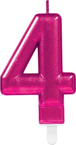 Carpeta Zahlenkerze * Zahl 4 * in PINK mit Steckfuß | ca. 10cm x 6cm groß | Deko 4. Geburtstag Geburtstagskerze Kerze