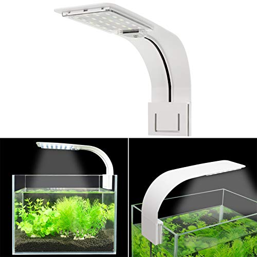 Senzeal X5 Virgo 24 LED Aquarium Light 10W Clip-on Lamp Aquatic Plant Lighting for 10-15inch Fish Tank (White)