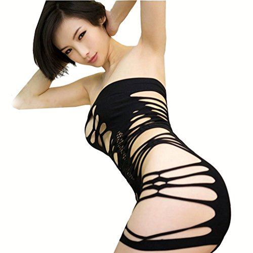 Long-Perfect Sexy Body Stockings Bra &Sling Two Wear Formula Short Skirt Floral Hollow Bodysuit Black