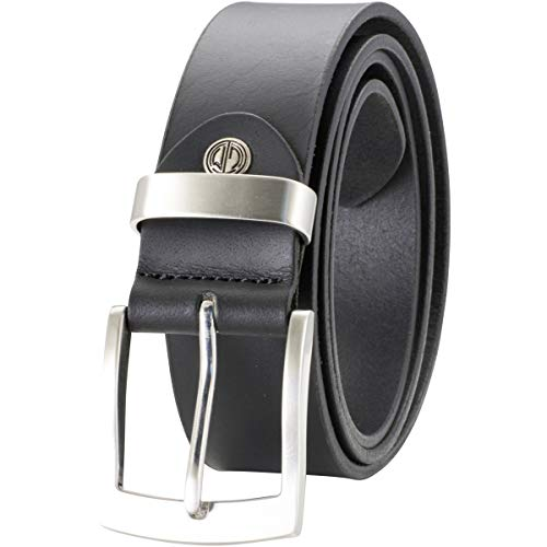 Lindenmann Mens Leather Belt/Mens Belt, full grain leather belt XXL, buffalo leather, black, Größe/Size:105
