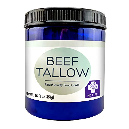 MD. Life Beef Tallow Lard for Cooking - Food Grade Grass Fed Collagen Protein - Pasture Raised Beef Tallow for Cooking Oil Replacement - Keto Friendly - 16 Ounce- Can be Used to Make Candles and Soaps