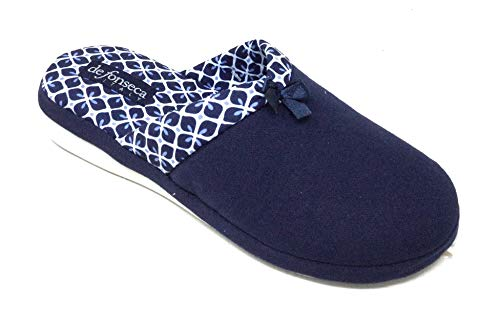 de fonseca Ciabatte Pantofole Cotone Donna MOD. Verona E W711 Blu New (Numeric_37)