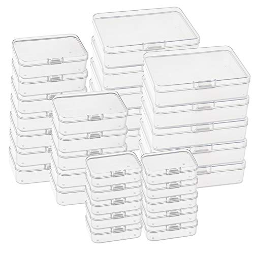 Kingrol 32 Pack Mini ClearPlastic Storage Containers with Lids, 3 Size Empty Hinged Boxes for Beads, Jewelry, Tools, Craft Supplies