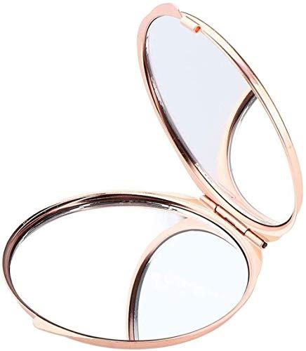 WFY Miroir élégant Petit et Exquis Portable Portable HD Miroir, Miroir cosmétique Double Pliante pour Voyager, randonnée, Nuit, fête ou Miroir de Maquillage (Color : Rose Golden)
