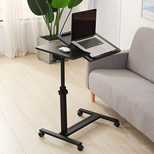 TigerDad Over Bed Table with Wheels Adjustable | Rolling Laptop Table Overbed Desk Hospital Tray Table Sofa Chair Side Table (Black)