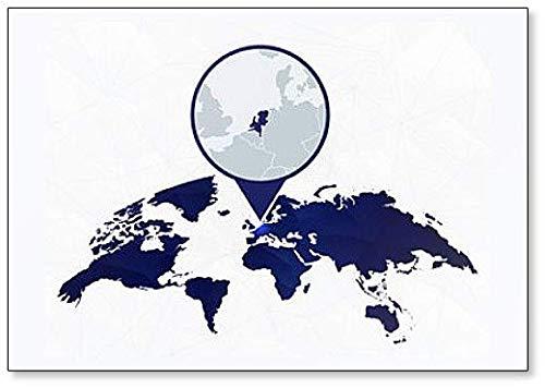 Nederland Gedetailleerde kaart gemarkeerd op Blauwe Afgeronde Koelkast Magneet