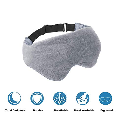 Asfrost Weighted Sleep Mask for Women Men, Weighted Eye Mask for Sleeping with Adjustable Strap, Eye Pillow Weighted with Glass Beads.75 Pound, Soft Breathable Cotton Eye Cover for Sleep Travel Yoga
