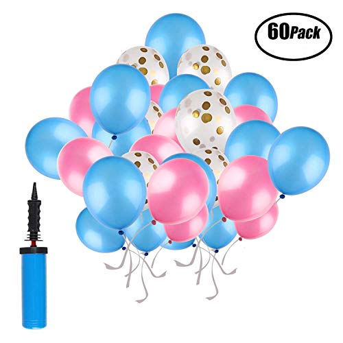 SUNRIZ Luftballons Bunt, 60 Stück Party Luftballons und 1 Ballonpumpe, Konfetti Ballons Luftballons Rosa Blau für Hochzeit und Geburtstag Party Dekorationen
