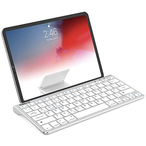 Nulaxy KM13 Wireless Bluetooth Keyboard with Sliding Stand Compatible with Apple iPad iPhone Samsung Android Windows Tablets Phones Keyboard - Silver (Renewed)