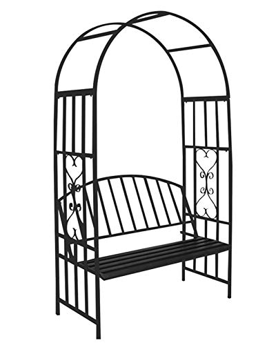 F-XW Garden Arch with Bench, Metal Archway For Pergola, Arbor for Climbing Plants, Roses, 114cm/3.7Ft Wide x 206cm/6.7Ft High