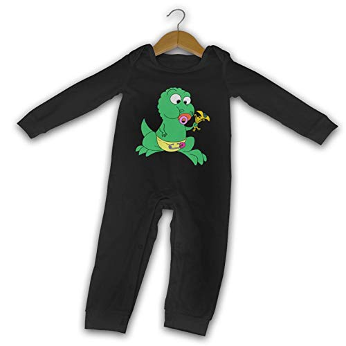 WushXiao Happy Small Dinosaurier Long Comfort Baby Crawler schwarz Gr. 2 Jahre,...
