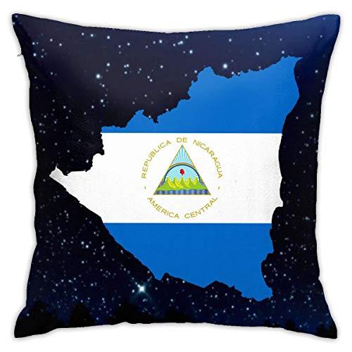 AEMAPE Bandera De Nicaragua Funda De Almohada Funda De Cojín Cuadrado Sofá Hogar Decorativo 40X40 Cm