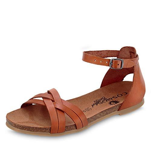 Cosmos 6106804 Damen Sandale aus Glattleder ungefüttert mit Lederkorkfußbett, Groesse 41, cognac