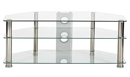 """MMT Clear Glass Universal TV Stand 120cm Suitable for 42"""" 50"""" 55"""" LCD LED Flat Screen TV's - 3 Tier Tempered Glass Storage Shelves - Chrome Leg -"""