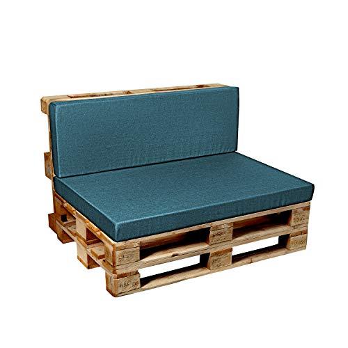 Garden factory Coussins pour Canape Euro Palette, Assise, Dossier, Set, extérieur intérieur Assise 120x60 Turquoise