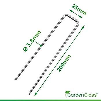 GardenGloss Piquets de Fixation en Acier Galvanisé pour Sols Très Durs (100 Pièces) - Sardines pour Grillage - Long 200 mm, Large 25 mm, Ø 3.8 mm