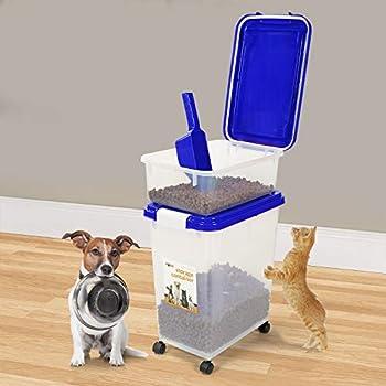 Prime Paws® 3pièces hermétique de Conservation d'aliments pour Animaux avec Mesurette Plastique pour Animal Domestique Animal Distributeur de croquettes
