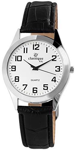 Classique Herrenuhr Weiß Schwarz Analog Metall XXL Kunst-Leder Armband Quarz Armbanduhr