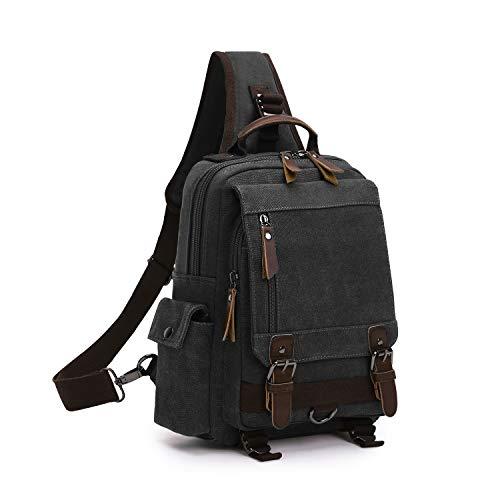 Wind Took Schultertasche Brusttasche Sling Rucksack Crossover Bag Outdoor Daypack Vintage Umhängetasche für Herren Damen