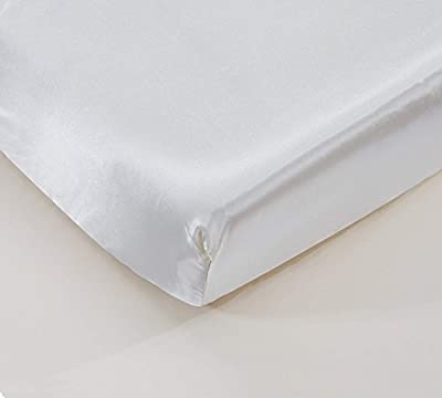 """EliteHomeProducts EHP Super Soft & Silky Satin Crib Fitted Sheet 28"""" X 52"""" + 9"""" (Solid/Deep Pocket) (White)"""