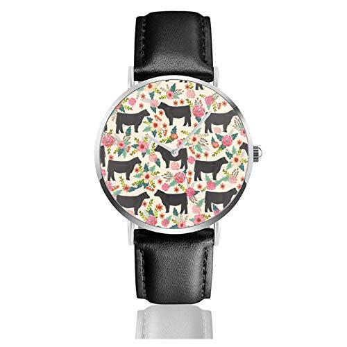 Show Steer Raza de ganado Animal Floral Patrón de vaca Reloj Movimiento de cuarzo Correa de reloj de cuero impermeable para hombres Muj