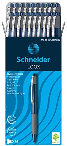 Schneider Loox Kugelschreiber (Schreibfarbe: blau, Strichstärke M, Druckmechanik, dokumentenechte Mine) 20er Packung blau