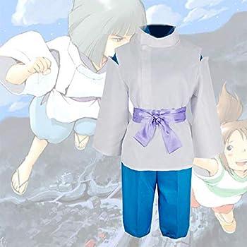 GGOODD Miyazaki Hayao Anime Spirited Away Nigihayami Kohakunushi Cosplay Costume Mens Kimono Halloween Party Suit 4 Piece Set,Blue,M