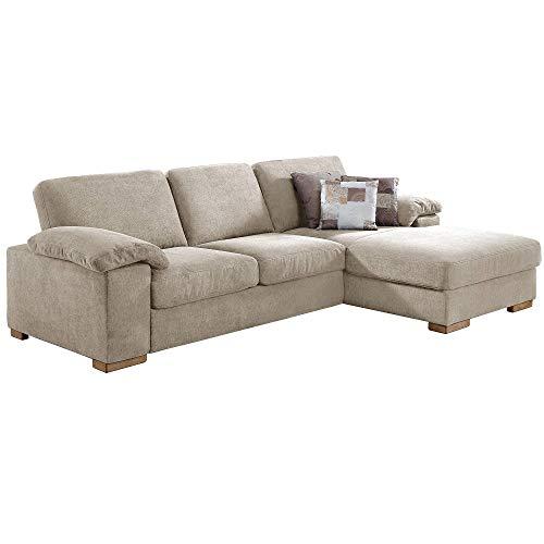Cavadore Ventere Ecksofa mit Longchair und Wellenunterfederung / L-Sofa im modernen Design / Größe: 277 x 86 x 172 cm (BxHxT) / Farbe: Beige (Creme)