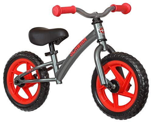 Schwinn Skip 2 Toddler Balance Bike, 12-Inch Wheels, Beginner Rider Training, Graphite/Red