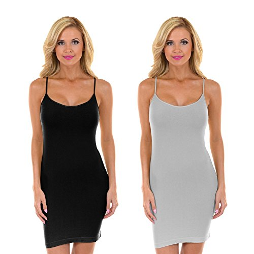 Women's Nylon Seamless Long Cami Slip Dress, Plus Size and One Size- Black/Grey