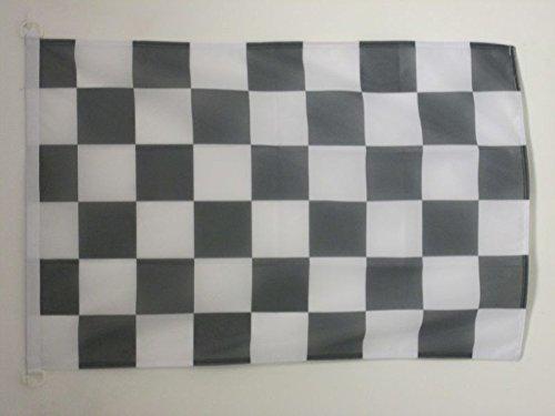 AZ FLAG Bandera A Cuadros Negros Y Blancos 90x60cm Uso Exterior - Bandera DE Carreras AUTOMOVILES - Negro Y Blanco 60 x 90 cm Anillos